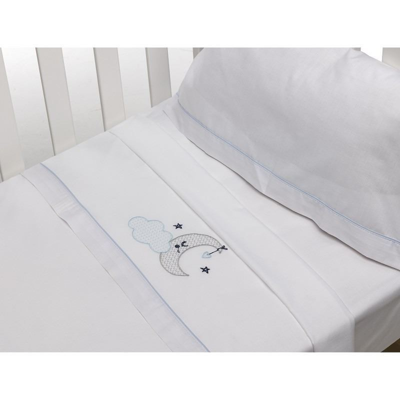 Juego de sábanas 3p bordado 100% algodón. Luna azul. (1)
