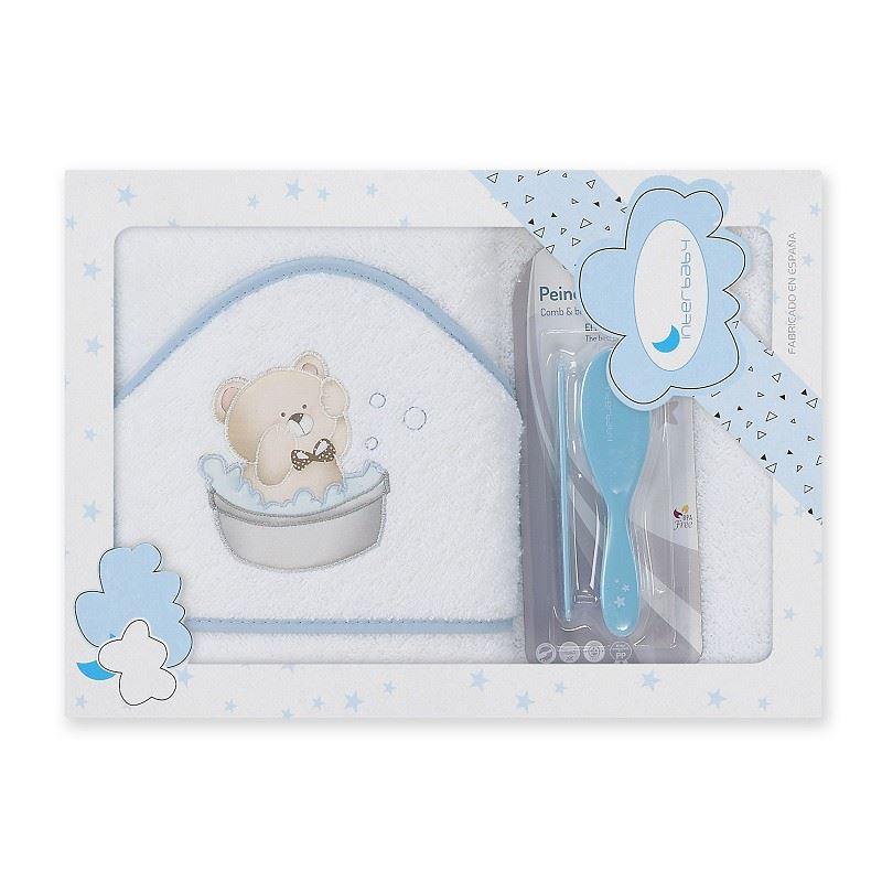 Toalla capa de baño bebe Osito Bañera azul