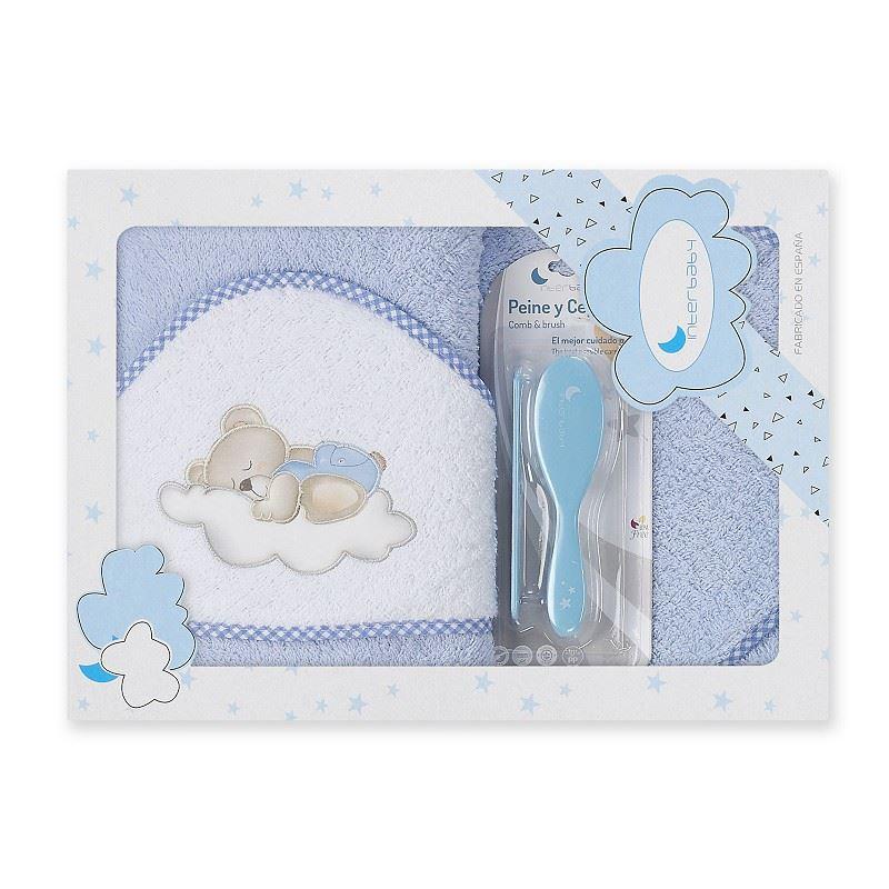 Toalla capa de baño bebe Osito Nube azul
