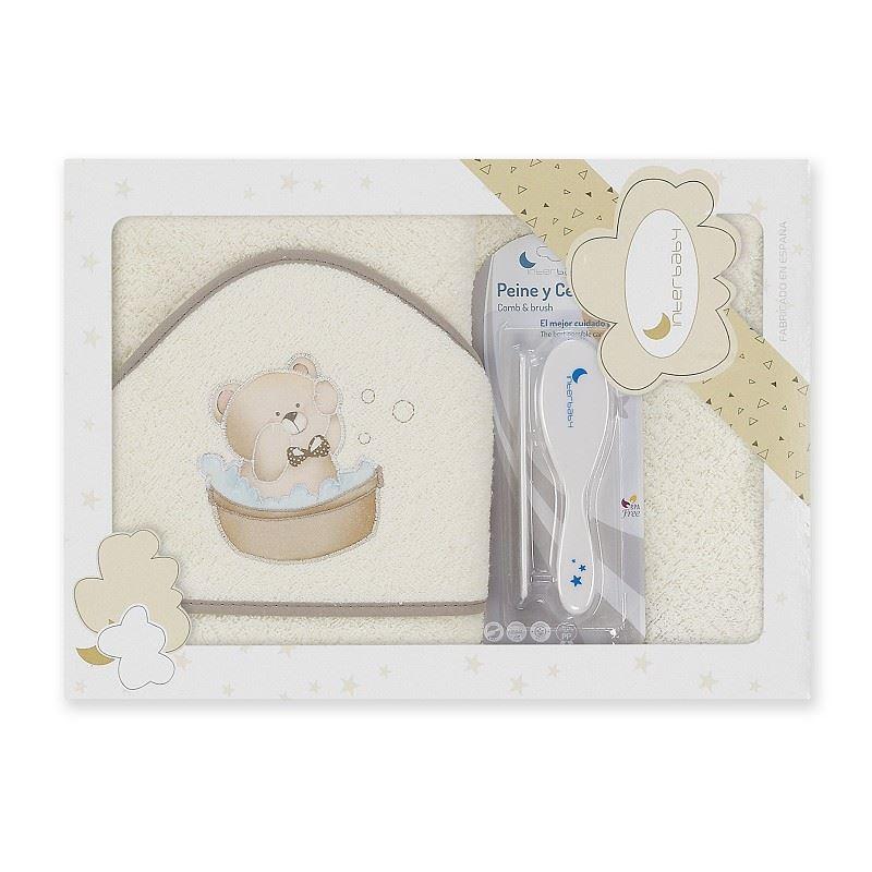 Toalla capa de baño bebe Osito Bañera beige