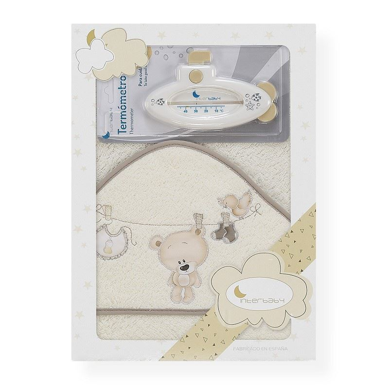 Toalla capa de baño bebe Osito tendedero beige