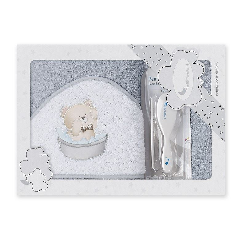 Toalla capa de baño bebe Osito Bañera gris