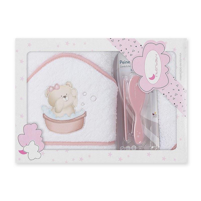Toalla capa de baño bebe Osito Bañera rosa