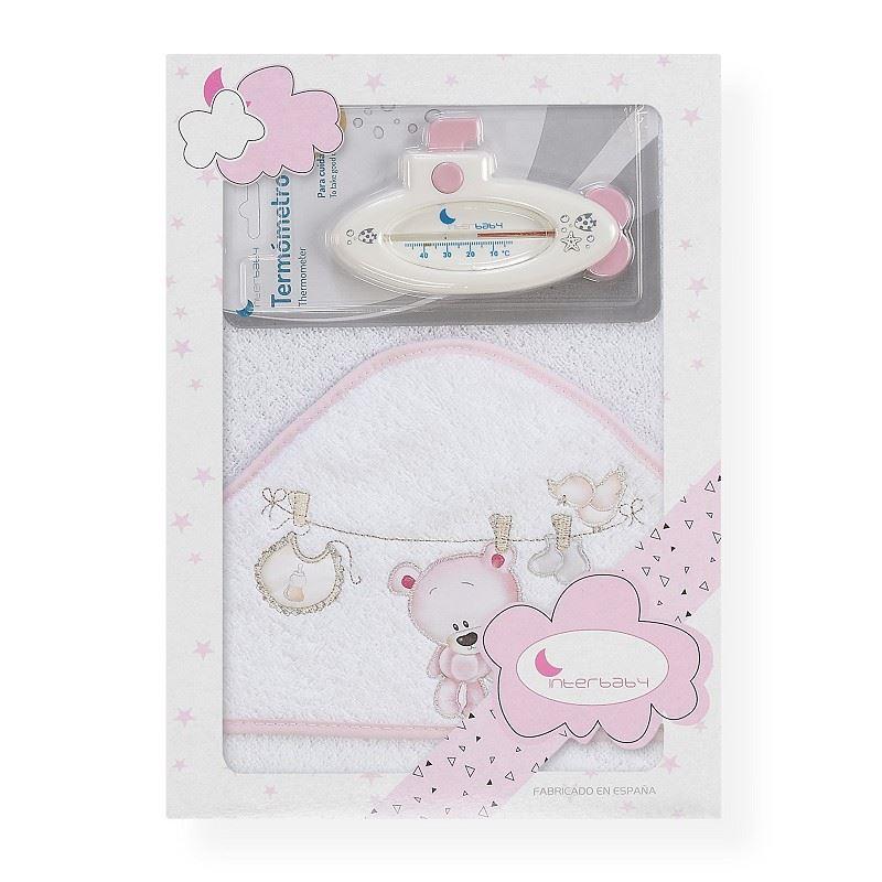 Toalla capa de baño bebe Osito tendedero rosa