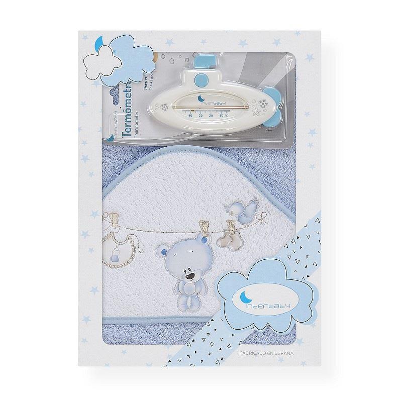 Toalla capa de baño bebe Osito tendedero azul
