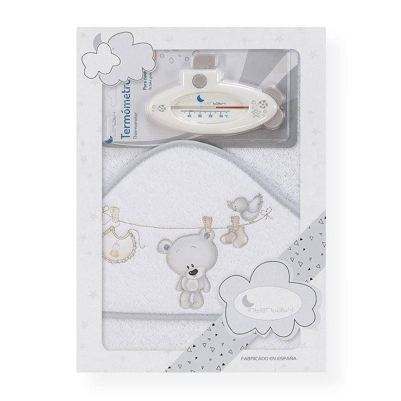 Toalla capa de baño bebe Osito tendedero gris